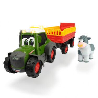 Tracteur Happy Fendt avec remorque et vache